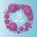 Pink Happy Women`s Day. 8 March. Trendy Mother`s Day. Paper  Royalty Free Stock Image
