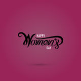 Pink Happy Women`s Day Typographical Design Elements. International women`s day icon.Women`s day symbol.Minimalistic design for international women`s day Stock Illustration