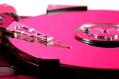 Pink hard drive. Close-up of a pink hard drive royalty free stock photography