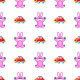 Pink Hares and Red Cars Seamless Pattern on White Stock Photo
