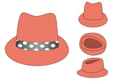 Pink hat with polka dot fillet. Pink orange hat from aside, front and above view with polka dot fillet stock illustration
