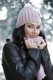 Pink hat and scarf Stock Photos