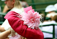 Pink hat with silk flower Stock Photography