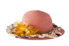 Pink hat weave. On white isolate background Stock Photo