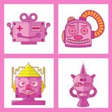 Pink Head Robot Vector Design. Pink Tin Toy Robot Head vector new design Stock Images