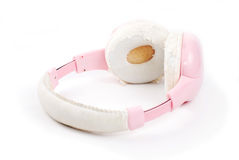 Pink headphone on isolate white background. Pink headphone on white background Stock Image