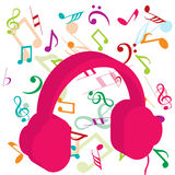 Pink headphones on background with musical notes Royalty Free Stock Image