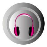 Pink headphones. On gradiend gray circle Stock Photography
