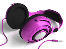 Pink Headphones Mid Right DOF. Pink headphones  on white Royalty Free Stock Photos
