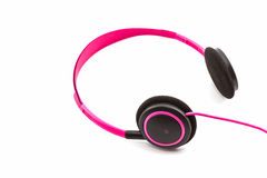Pink headphones. Royalty Free Stock Images