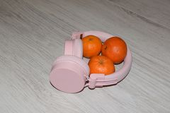 Free Pink Headphones With Orange Tangerines. Minimal Music Concept. Top View. Flat Lay. Royalty Free Stock Image - 167029726