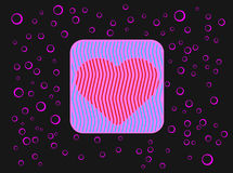 Pink_heart. Pattern with heart and bubbles. Romantic love theme Stock Photos