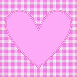 Pink heart. On pink gingham pattern Stock Illustration