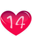 Pink heart. And 14 on white background royalty free illustration