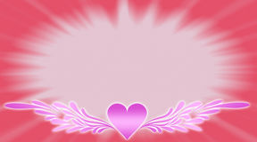 Pink heart. S with wings on pink background Vector Illustration