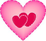 Pink heart. Sparkling pink hearts on white background close-up Royalty Free Stock Images