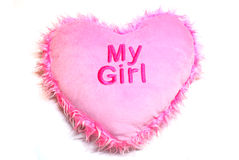 Pink heart. A cushion is isolated on white Stock Photography