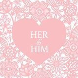 Pink heart and abstract flower paper cut background vector art design for wedding card or valentine`s day Stock Photography