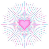 Pink heart and abstract sun light rays. Design element for valentines greetings or romantic cards. Vector illustration Vector Illustration