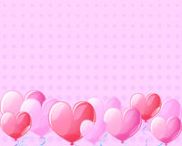Pink heart air balloons vintage banner background for St Valentine Day. Valentine Day template with text place. Pink air balloons for Valentine day greeting Stock Photo