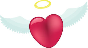 Pink heart with angel wings Royalty Free Stock Image