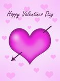 Pink heart with arrow. Pink heart with happy valentines day with arrow Stock Images