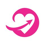 PINK HEART WITH ARROW SWOOSH ICON. VECTOR stock illustration