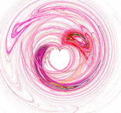 Pink Heart Background. Fractal made from swirling lines.  Design has a heart shaped center.  Isolated on white Royalty Free Stock Photos
