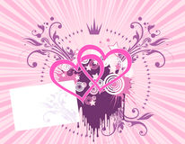 Pink heart background. Crown. Floral. Card Stock Images