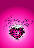 Pink Heart Background. An illustrated background with an abstract design of a heart in pink color Stock Images