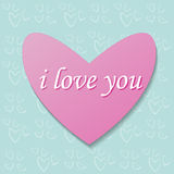 Pink heart on a background pattern Stock Images