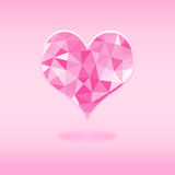 Pink heart background of triangles low poly Royalty Free Stock Photo