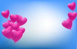 Pink heart balloons on a blue background. For Valentine`s day, vector and illustration Royalty Free Stock Photo