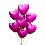 Pink heart balloons  on the white background. 3D render Stock Image