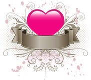 Pink heart and banner. A pink heart with a gray banner vector illustration