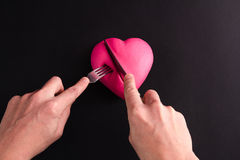 Pink heart on a black background Royalty Free Stock Images