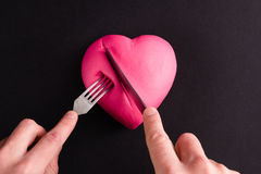 Pink heart on a black background Royalty Free Stock Photography