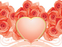 Pink heart with blooming roses. Illustration Royalty Free Stock Photography