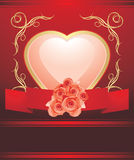 Pink heart with blooming roses. Valentines card Stock Photo