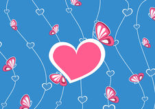 Pink heart, on blue background Royalty Free Stock Photo