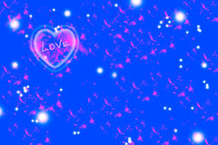 Pink heart on blue background Royalty Free Stock Photo