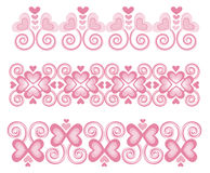 "Pink Heart Borders 1. Vector art in Illustrator 8. ALL ELEMENTS ARE SEPARATE IMAGES. Use ""as is"" for a border, make the border longer or shorter as needed Royalty Free Stock Photography"