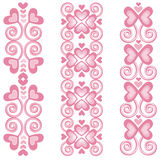 "Pink Heart Borders 2. Vector art in Illustrator 8. ALL ELEMENTS ARE SEPARATE IMAGES. Use ""as is"" for a border, make the border longer or shorter as needed Stock Image"