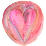 Pink heart in brown circle watercolor painting stock illustration