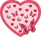 Pink heart with butterflies Stock Photography