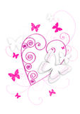 Pink heart and butterflies. Pink illustration with butterflies and heart stock illustration
