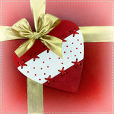 Pink heart from buttons on a red background with a bow (backgrou Royalty Free Stock Image