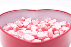 Pink heart candies in heart shape box for Valentine day  isolate Royalty Free Stock Photos