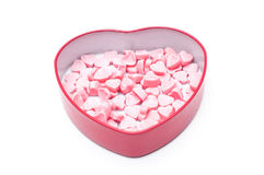 Pink heart candies in heart shape box for Valentine day  isolate Royalty Free Stock Images