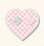 Pink heart with canvas texture and two cute birds, illustration Stock Photos